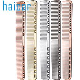 2019 penteado de barbeiro de aço inoxidável Pente de cabelo de Aço Inoxidável Salão Profissional de Cabeleireiro Anti-estático Barbeiros Pente Escova de Cabelo Ferramentas de Estilo de cabeleireiro penteado de barbeiro de aço inoxidável barato