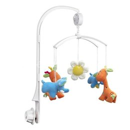 Wholesale Baby Crib Toys Mobile - Wholesale- New Baby Toys White Rattles Bracket Set Baby Crib Mobile Bed Bell Toy Holder Arm Bracket Wind-up Musical Box Hanging Toy