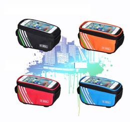 Wholesale Mtb Frame Bag Pannier - 5.7 inch Cycling Bike Bicycle Bags Panniers Frame Front Tube Bag For Cell Phone MTB Bike waterproof Touch Screen phone Bags