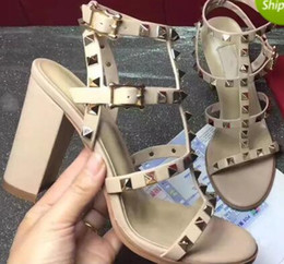 Wholesale brown wedding shoes - Newest 2018 luxury brand design Leather Women Stud Sandals Slingback Pumps Ladies Sexy High Heels 9.5cm Fashion rivets shoes 8 Colors
