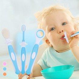 Wholesale Dental Children - 3pcs set baby kids Toothbrushes Newborn infant Teether Training Toothbrushes Silicone Baby Children Dental Oral Care Brush D3
