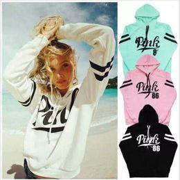 Wholesale womens pullover sweaters - Pink Hoodies Women Pink Letter Sweatshirts Long Sleeve Hoodie Casual Sweater Coat Pullover Print Sport Fleeces Hoody Womens Clothing B3799