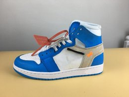 Wholesale Cycling Ties - 2018 Mens Air Retros 1 UNIVERSITY BLUE BLANC BLEU Men Basketball Shoes 1s OG Sneakers Trainers Mens Sport Shoes with ZIP TIE (With Box)