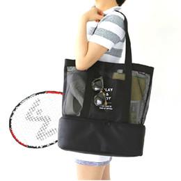 Wholesale womens tops large - Hige Quality Nylon Transparent Beach Handbag Women Large Capacity Double Floor Top-shoulder Bag Travel Portable Womens Bags