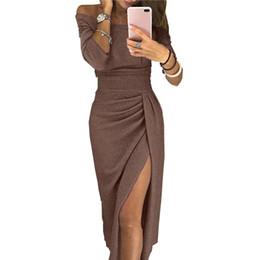 2019 vestito da casa xl YJSFG HOUSE Hot Abiti eleganti da donna Off spalla Elegante aderente da sera Party Dress Long Femminile Autunno Slash Neck New Dress vestito da casa xl economici