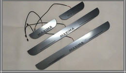 Wholesale Nissan Door Sills - Waterproof Acrylic Moving LED Welcome Pedal Car Scuff Plate Pedal Door Sill Pathway Light For Nissan Maxima 2014 2015 2016