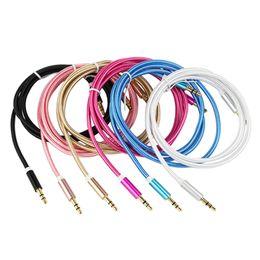 led câble smiley Promotion Câble auxiliaire 3.5 mm à 3,5 mm de câble en nylon avec fiche plaquée or, câble audio mâle à mâle pour téléphone portable casque haut-parleur