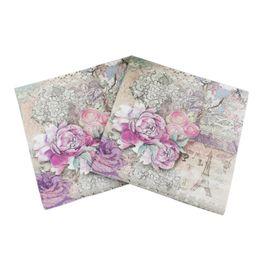 Discount paper decoration designs - 20pcs pack Newest Design Eiffel Tower Paper Napkins Rose Festive Party Tissue Floral Decoration Guardanapo 33cm*33cm