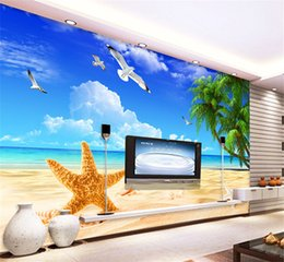 Wholesale Vintage Photography Backdrops - Custom Beach Scenery Starfish Blue Sky 3D Photo Background Computer Printed Living Room TV Photography Backdrop Mural Wallpaper