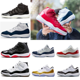 Wholesale Pink Rose Canvas - hot sale 11 basketball shoes men women high gym red Midnight Navy concord Varsity Red bred Barons legend blue sports Sneaker shoes 36-47