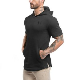 Мужская толстовка с коротким рукавом онлайн-Mens Short sleeve coon Hoodies Fashion Casual Sweatshirt gyms Fitness black Hooded jacket male  sportswear clothing tops