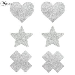 star bras Promo Codes - Ypser 3 Pairs Mixed Silver Nipple Cover Breast Petals Milk Paste Disposable Adhesive Stain Fashion Pasties Heart Star Cross