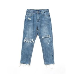 Wholesale Underwear Youth - 2018 Spring And Autumn New Men's Original CountryTrendy Hole Street Jeans Students Fashion WildPants Youth Slim Models Underwear