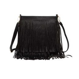 Fringe couro ombro saco preto on-line-2018 venda quente mulheres moda borla fringe bolsas tendência pu couro bolsa de ombro senhoras de couro preto sacos crossbody bolsa feminina dhl