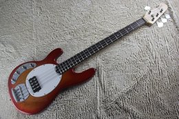 Discount music man bass guitar active - High Quality Left Handed Cherry Red Music Man Sting Ray 4 String electric Bass Guitar with active pickups 9V battery 14-424