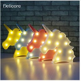 Wholesale Animal Lamps For Kids - Cute Unicorn Head Led Night Light Animal Marquee Lamps On Wall For Children Party Bedroom Christmas Decor Kids Gifts