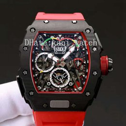 Wholesale black titanium watch - Top Watch Luxury Brand 43MM Automatic Movement Titanium Carbon Fiber Material Mineral Tempered Glass 50-03 Top Racer Men's Watch