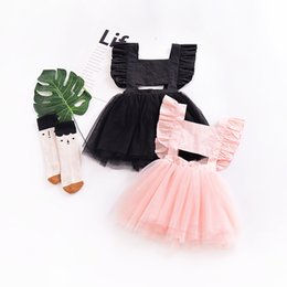 Wholesale Tulle Tutu Boutique - Cute Backless Baby girl dress Tutu dresses Kids clothes Ruffles Sleeve Bow Cross Soft Tulle Boutique girl clothing 2018 Summer Pink Black