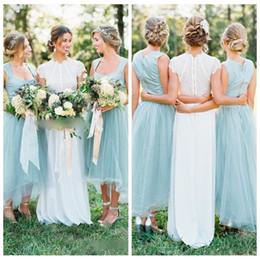 Wholesale wedding dresses square neckline - 2018 Square Tulle Wedding Short Bridesmaid Dresses A Line Square Neckline Backless High Low Custom Maid of Honor Gowns Plus Size Cheap