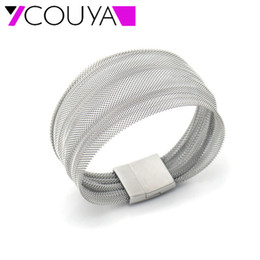 Wholesale silver bangle mesh cuff - COUYA 2017 new fashion stainless steel Bangle wide Silver mesh bracelets for women Casual jewelry best gifts for Valentine's Day
