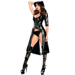 trajes góticos Desconto Hot Mulheres Eróticas Faux Leather Cape Capa Cosplay Halloween Costume Do Punk Gótico Vestido Lace up Catsuit Com Capuz Cape Macacão sexy