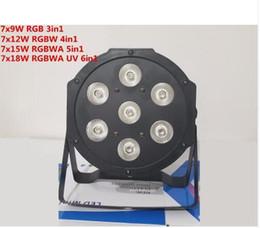 Wholesale dj uv lights - RGBW RGBWA 7x18W LED Flat SlimPar RGBWA UV Light 6in1 LED DJ Wash Light Stage dmx lamp dmx controller 6 10 channes