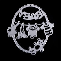 Wholesale Craft Stencils - Metal Cute Baby Clothes Bear Cutting Dies Embossing Template Stencils for DIY Scrapbook Album Frame Photo Cards Decor Crafts