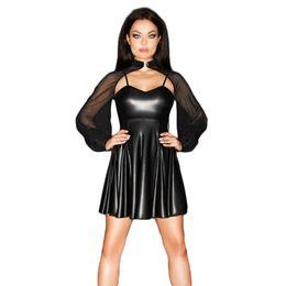 Lunghi abiti in pelle faux online-Sexy Black Faux Leather Mesh Mini Dress Sexy vinile aperto indietro cinturino anteriore discoteca vestiti a-line maniche lunghe camicia da notte 2XL