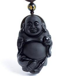 2019 buddha schmuck machen Natürlicher schwarzer Obsidian geschnitzt glücklich Maitreya Buddha Anhänger passen Mode Pullover Halskette Schmuck machen rabatt buddha schmuck machen