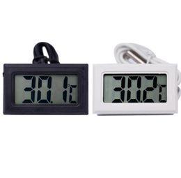 Termómetro para nevera online-Nuevo Negro Blanco Termómetro Digital Frigorífico Congelador Medidor de Temperatura Hogar probador de temperatura del agua detector productos para el hogar