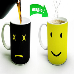 Wholesale Magical Coffee Cup - Wholesale- Creative Smile Face Changing Mug Expression Changes Ceramic Magical Coffee Cup Temperature Sensing Cup Novelty Gift Home Decor