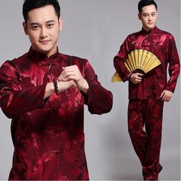 2019 chinesische kampfkünste Neue chinesische alte Kostüm Tai Chi Konfu Outfit Kampfkünste tragen traditionelle männliche Kleidung Tang Anzug Hanfu Sets für Männer günstig chinesische kampfkünste