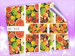 Wholesale Green Leaf Sticker - Wholesale- 1X Nail Sticker FRUIT LEAF MAPLE CHERRY STRAWBERRY ORANGE LEMON WATER MELON RU019-024
