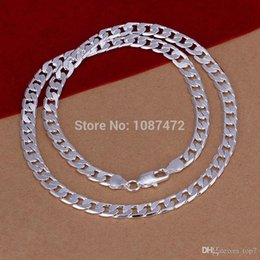 Wholesale Silver Chain 925 6mm - 2018 6MM 925 Sterling Silver plated fashion snake chain necklaces for men jewelry High quality LKN047