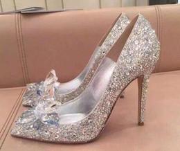 Маленькие цветы горного хрусталя онлайн-Высший сорт Золушка Crystal Shoes Свадебные Rhinestone Свадебные туфли с цветком из натуральной кожи большой маленький размер 35-40