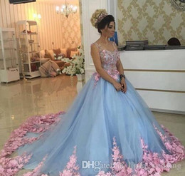 Dulce 16 vestidos de niña de las flores online-Baby Blue Quinceanera Dress Princess Appliques Flowers Sweet 16 Ages Long Girls Prom Party Pageant Gown Plus Size por encargo