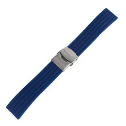 Wholesale dive watch men rubber band - Blue Orange Stripe Design 20mm 22mm 24mm Rubber Watch Band Diving Sport Men Women Waterproof Watch Strap New Arrival Safety Fold Clasp
