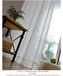 Wholesale Modern Window Blinds - Modern Striped Window Tulle Curtains for Living Room White Voile Sheer Curtains for Bedroom Kids Cortina Blind Custom Size Panel