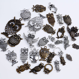 Wholesale Metal Craft Charms - Vintage Metal Mixed Owl Charms for Jewelry Making DIY Handmade DIY Handmade Crafts Animal Owl Pendant Charms 15pcs lot C5190