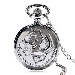 Wholesale Fullmetal Alchemist Necklace - Hot Anime Small Pocket Watch Silver Fullmetal Alchemist Symbol Slim Necklace Japanese Anime Clock Best Gifts for Big Comic Fans