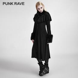 Длинное черное пальто готическое онлайн-PUNK RAVE Gothic Long Shawl Wool Coats Retro Noble Woman Black Decorated Lolita Sweet Wool Knit Coat Banquet Winter Clothing