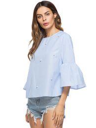 f29cf8c9b3f97 hot sales girl s elegant pearls beading flare sleeve shirt O neck blouse three  quarter sleeve summer brand casual tops blusas