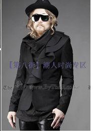 Wholesale Korean Slim Men S Suit - S-5XL 2017 New Korean spring and autumn men's fashion Slim small suit wave placket design blazers nightclub hairstylist costumes
