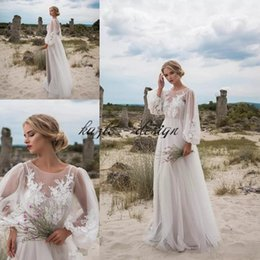 Wholesale Fairy Appliques - Fairy Lace Long Sleeve Bohemian Wedding Dresses 2018 modest sheer neck loose full length summer holiday beach bridal dress wear