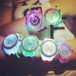 Wholesale Geneva Led Light - Geneva diamond crystal 20 colors led light watch unisex silicone jelly candy fashion flash up backlight quartz watches Sports Wristwatch
