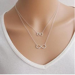 Wholesale Lucky Number Necklace - whole saleHandmade lucky number 8 double choker necklace silver chain necklace