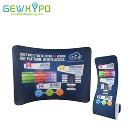 Wholesale roll banner stand - 10ft*7.5ft Exhibition Portable Display Curved Stretch Tension Fabric Backwall With Snake Banner Stand(Include One Side Printing)