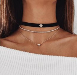 Wholesale Deer Choker - 2018 NEW contracted A square choker Set auger statement necklaces Multilayer metal Deer velvet hip hop jewelry necklaces Jewelry 12