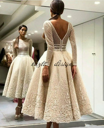 Wholesale Tea Length Organza Ball Gown - yousef aljasmi Lace Backless Prom Dresses Beaded Bateau Neck Sequined Long Sleeves Party Evening Dress Tea Length Appliqued Formal Gowns