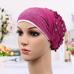 Wholesale Turban Skull Cap - 2018 New Women Double Color Turban Hat India Cap Muslim Hats Hairnet Chemo Cap Flower Bonnet Beanie for Women